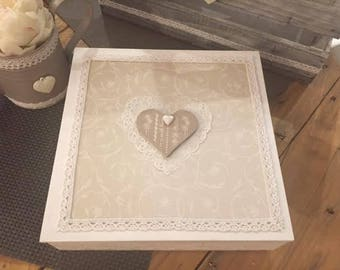 the taupe ivory and white heart lace shabby jewelry box