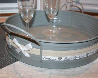 "modern ""petits bonheurs"" taupe and gray metal tray"