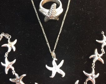 Sterling Starfish Set