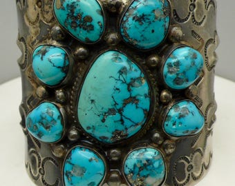 Vintage Large Native American Turquoise Sterling Silver Cuff Bracelet