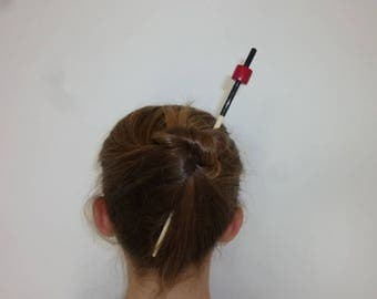 Black and Red wooden hair stick