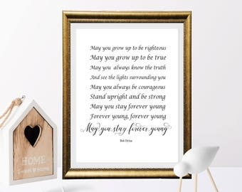 Bob Dylan Quote Printable, May you stay forever young, Song Lyrics art, Nursery Decor, home Decor, Baby Decor, Retro printable, gold n black