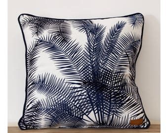 Palm trees pillow cover / blue, exotic cushionPalm Cover
