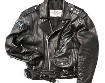 Vintage Motorcycle Black Leather Biker Jacket