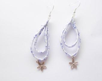 Liberty Blue and white dangle earrings