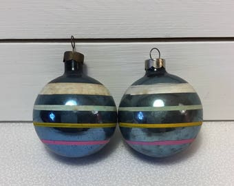 Vintage Glass Christmas Ornaments with Stripes, Set/2