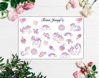 Unicorn stickers for Erin Condren, Happy Planner, Filofax, Scrapbooking etc