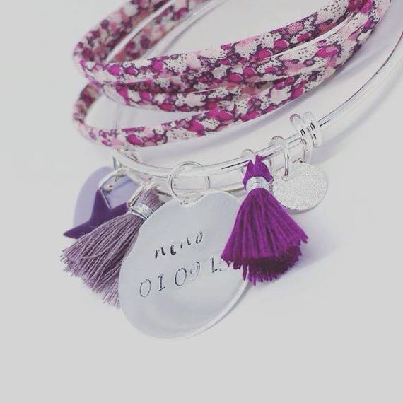 """Silver Bangle purple / Violet with personalized engraving by Palilo """"Hello love"""""""