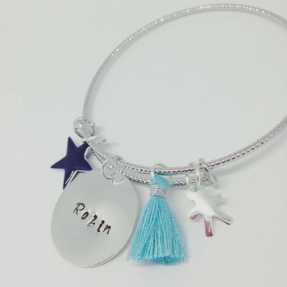 """Bangle personalized shimmering Silver """"Hello love"""" RESERVE PAULINE"""