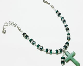 Green Crystal Rosary Bracelet Divine Mercy Chaplet