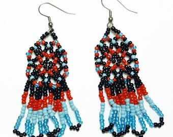 Black Turquoise Red Beaded Dangle Earrings