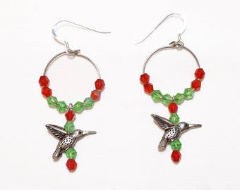 Red and Green Crystal Hummingbird Hoop Beaded Earrings