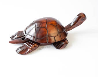 Wooden Ring Box Wooden Jewelry Box Turtle Carved Wood Jewelry Storage