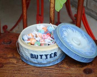 Antique Vintage Salt Glazed Blue and White Butter Crock