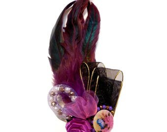 Madness Burlesque ribbons beads black gold purple feather hair clip brooch