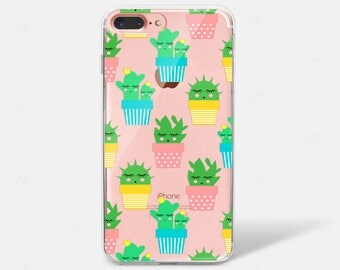 Cactus Pattern Print Succulent Clear Silicone TPU iPhone Case iPhone 6 iPhone 7 iPhone 7 PLUS iPhone 6 PLUS