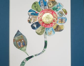 Postage Stamp Collage - Tall Flower (blue)