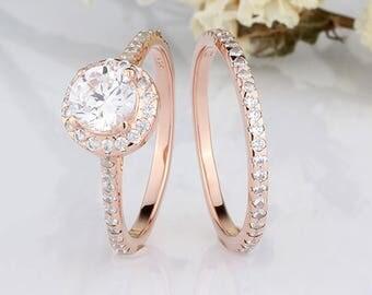 6mm Round Halo CZ Rose Gold Rings Set / Half Eternity Wedding Engagement Rings  Set /