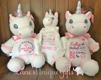 Unicorn Gift / Unicorn Birthday Gifts / Personalised Unicorn Teddy Bear / Girls Unicorn / Unicorns / Christmas gift / Christening Gift / Toy