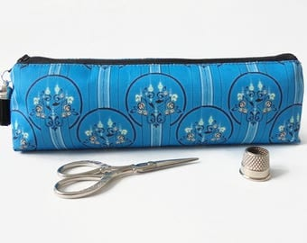 Art gifts, Art Deco, Turquoise, mascara bag, pencil pouch, brush bag, art gift, student gift, teacher gift, pen pouch, sewing pouch.