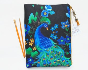 Gifts for her, Peacock Wash bag, travel bag, cosmetic bag, zip bag, make up bag, large makeup bag.