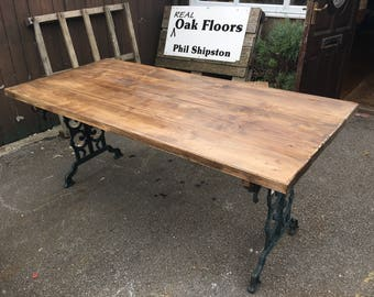 Pine and cast iron dining table
