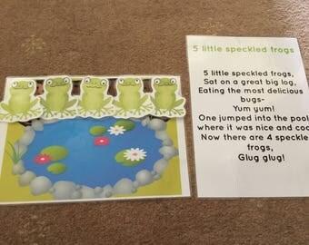 5 little speckled frogs Song card EYFS Childminder resource