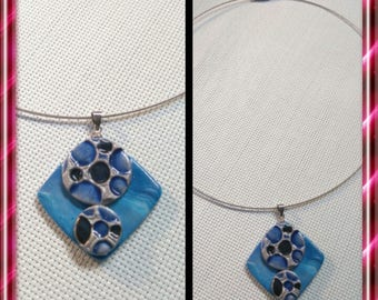 Blue silver polymer clay pendant