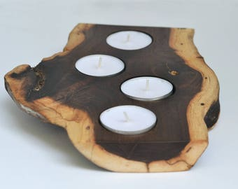 Rustic Walnut Tea Light Holder