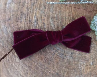 wine colored / school girl / Hand tied velvet bow for babies, toddlers and little girls in Merlot on clip or headband - JANIE style