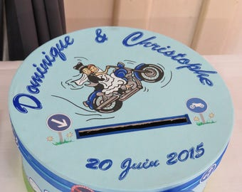 Urn wedding themed motorcycle, biker, fired motorcycle, road, ride, blue, green, customizable colors