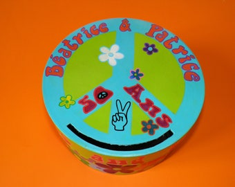 Birthday URN, hippie year theme, cool baba, peace & love, party costume, multicolor, customizable colors.