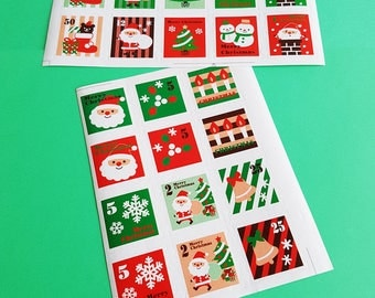 Ho Ho Ho! Retro Christmas Stamp Stickers (Set of 22)