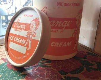 Orange Farm Dairy Ice Cream container