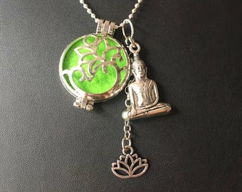 Necklace for aromatherapy with Buddha and lotus flower