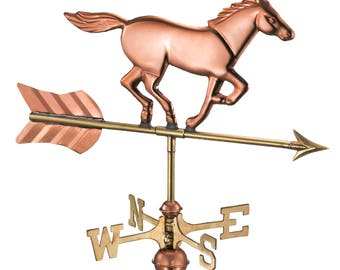 Horse Garden Weathervane - Pure Copper w/Garden Pole and Roof Mount