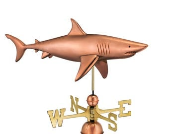 Shark Weathervane with Roof Mount - Pure Copper