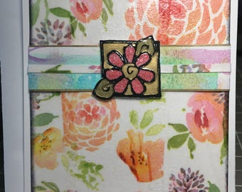 Handmade tissue paper collage art card for any occasion.