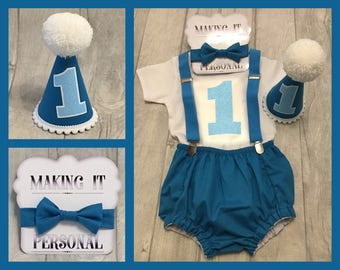 Boys 1st Birthday Cake Smash Outfit Turquoise Party Hat Nappy Pants Braces Bow Tie Bodysuit Vest Glitter Vinyl 1 READY TO POST!!