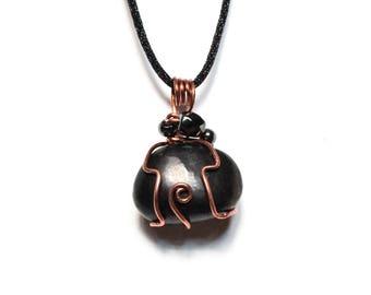 Shungite and Hematite Copper Wrapped Pendant