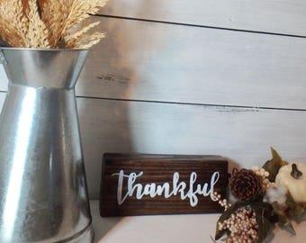 Thankful Wood Block