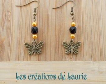 Earrings bronze, yellow and black butterflies