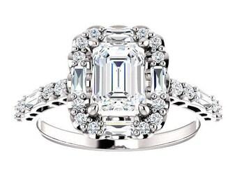 Forever One Moissanite Engagement Ring- Kira | emerald | halo moissanite engagement ring