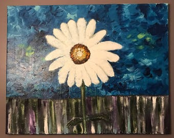 """24"""" X 30"""" Abstract Daisy Acrylic Painting"""