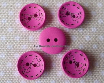 5 buttons round wooden pink floral bow 18mm