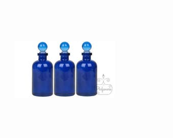 3 Bottles 3.4 oz Cobalt Blue GLASS APOTHECARY Old World Style with Glass Ball Top Closure For Essential Oils Perfume Potions Alchemy Amulet