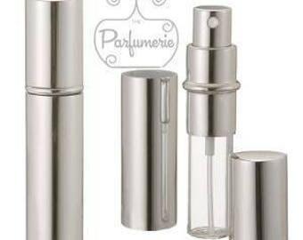 Set of 6: 12 ml. Silver SHINY METALLIC Sleek Spray Atomizer Perfume Cologne Refillable Travel Size Wholesale Bottle Empty