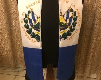 El Salvador flag print sash.