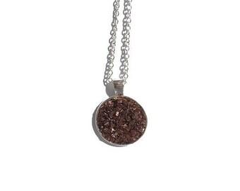 Druzy pendant necklace, chunky chocolate druzy, druzy necklace, druzy jewelry, under 20 dollars, brown druzy, chunky druzy, drusy, geode