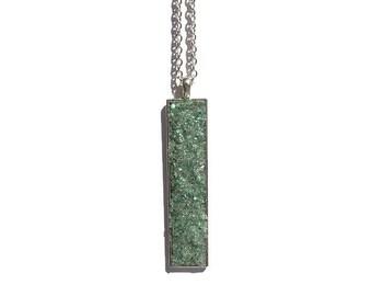Drop pendant, drop necklace, bar pendant, crystal pendant, boho, under 20 dollars, geode pendant, druzy, rectangle pendant, light green